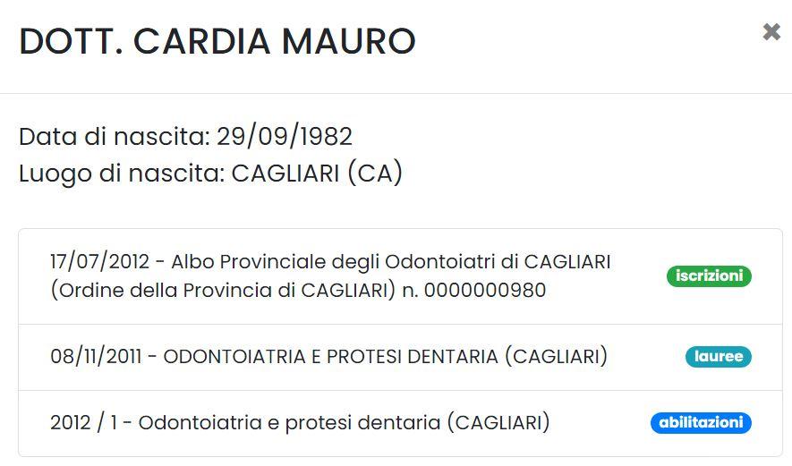 Mauro Cardia dentista abilitato quartu